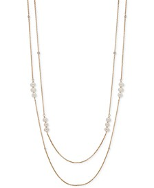 "Gold-Tone Crystal & Imitation Pearl 42"" Double-Row Strand Necklace"
