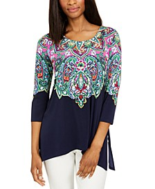 Rhinestone Trim 3/4-sleeve Tunic, Created for Macy's