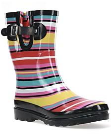 Women's Solstice Stripe Mid Rain boot