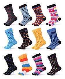 Men's Funky Colorful Dress Socks Pack of 12