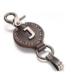 Retro Leather Alphabet Keychain