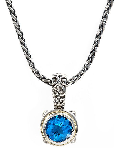 EFFY Collection Balissima by EFFY Blue Topaz Round Pendant (5-3/4 ct. t.w.)  in 18k Gold and Sterling Silver