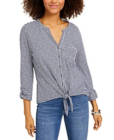 Petite Cotton Striped Tie-Front Shirt, Created for Macy's