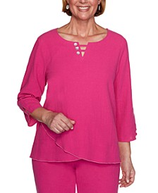 Laguna Beach Cotton Gauze Button-Trim Yoke Top