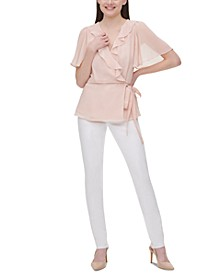 Chiffon Ruffled Faux-Wrap Top