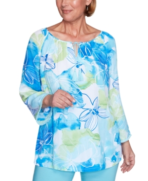 Women's Missy Sea You There Watercolor Floral Top