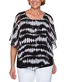 Alfred Dunner Checkmate Tie-Dyed Flutter-Sleeve Necklace Top