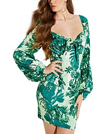 Junglescape Tie-Front Mini Dress