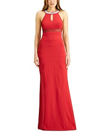 Juniors' Embellished-Neck Banded Gown