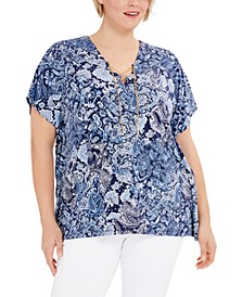 Plus Size Paisley-Print Lace-Up Tunic Top