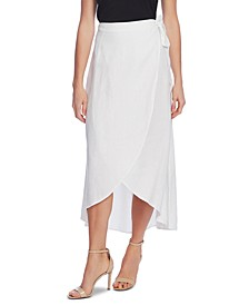 Linen Faux-Wrap Skirt