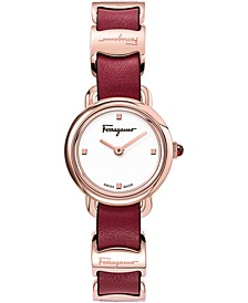 Women's Swiss Varina Red Leather Strap Watch 22mm