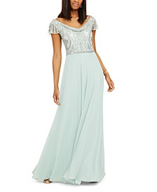 Beaded Cowlneck Gown