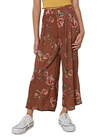Big Girls Floral-Print Crinkle Pants