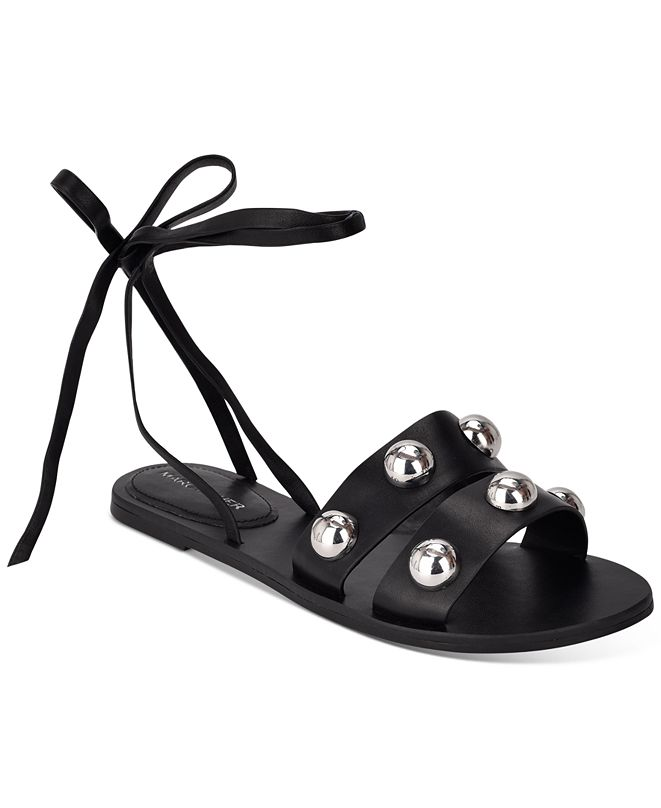 Marc Fisher Bryony Ball-Studded Ankle-Tie Sandals