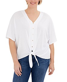 Plus Size Button-Front Tie-Hem Top