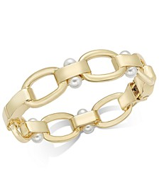 Gold-Tone Link & Imitation Pearl Bangle Bracelet, Created for Macy's