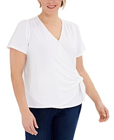 Plus Size Textured Wrap Top