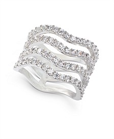 INC Silver-Tone Crystal Wavy Multi-Row Ring, Created for Macy's