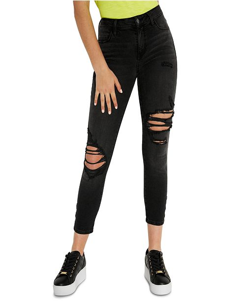 GUESS Sexy Curve Cropped Grommet Jeans