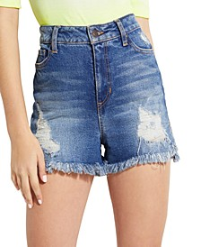 Claudia High-Rise Frayed Denim Shorts