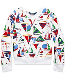 Big Girls Sailboat Cotton French Terry Pullover