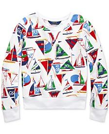폴로 랄프로렌 Polo Ralph Lauren Big Girls Sailboat Cotton French Terry Pullover,White Multi