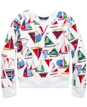 Polo Ralph Lauren BIG GIRLS SAILBOAT COTTON FRENCH TERRY PULLOVER