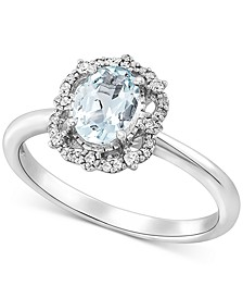 Aquamarine (5/8 ct. t.w.) & Diamond (1/10 ct. t.w.) Ring in 14k White Gold