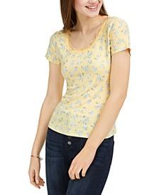 Juniors' Lace Trim Rib-Knit Top