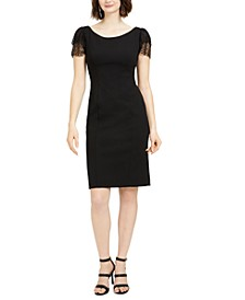 Petite Glitter-Sleeve Sheath Dress