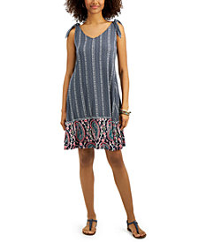 Style & Co Plus Size Printed Tie-Shoulder Dress, Created for Macy's