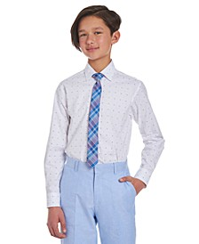 Big Boys 2-Pc. Stretch Logo-Print Dress Shirt & Plaid Tie Set