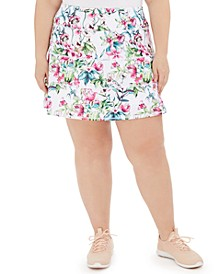 Plus Size Pleated Island Palm Skort, Created for Macy's