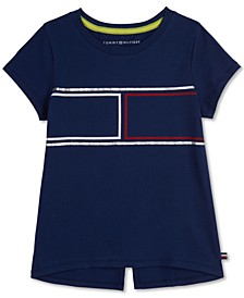 Big Girls Cotton Split-Back Flag T-Shirt