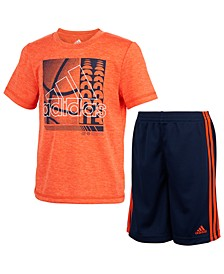 Little Boys 2-Pc. Poly Mélange T-Shirt & Short Set