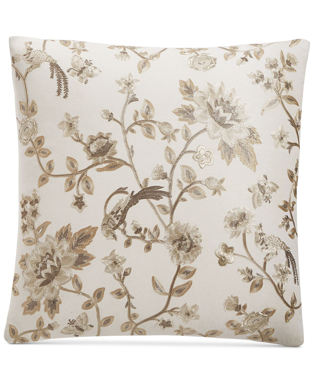 "Lucky Brand Embroidered Chinoserie 20"" x 20"" Decorative Couch Pillow"