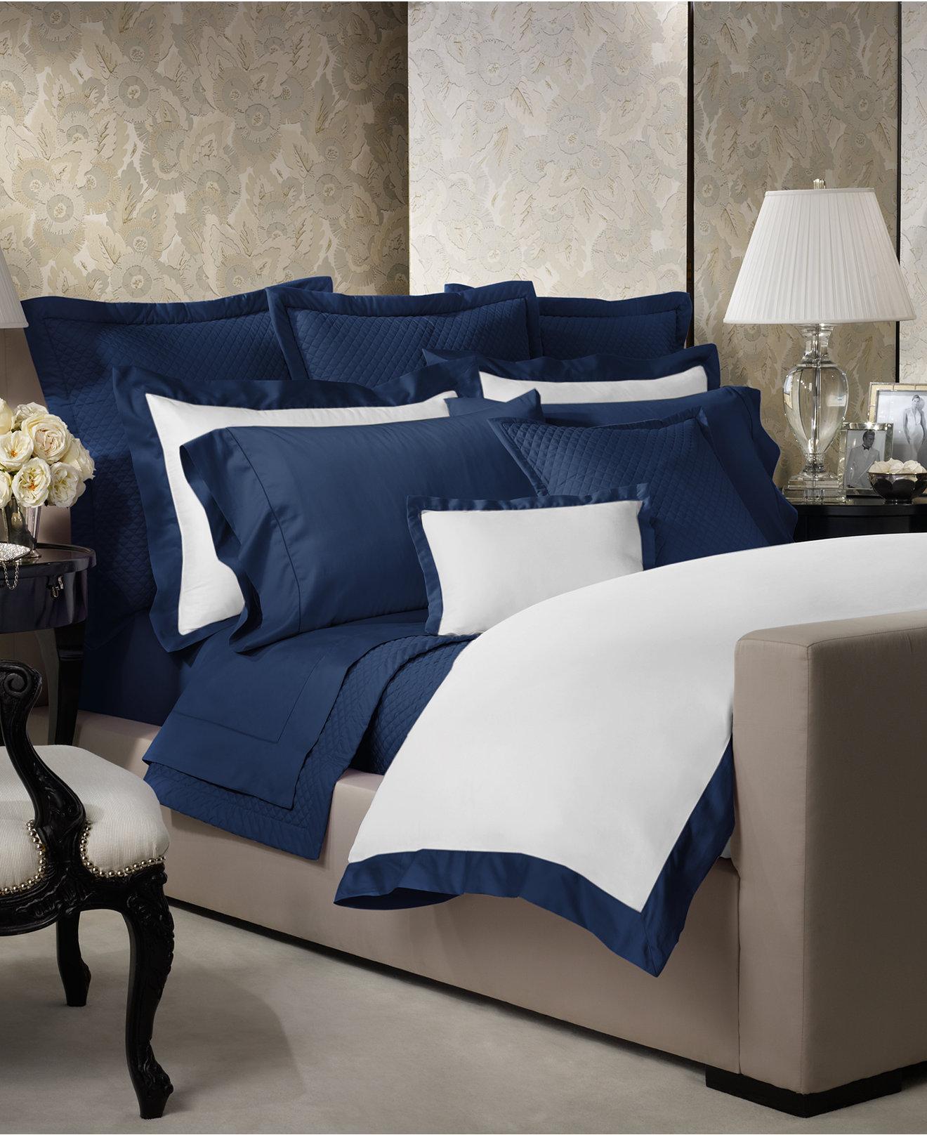 Ralph lauren home bedding - Ralph Lauren Langdon Border Bedding Collection 624 Thread Count 100 Pima Cotton White Bedding Slp Macy S