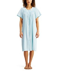 Smocked Seersucker Snap Front Robe