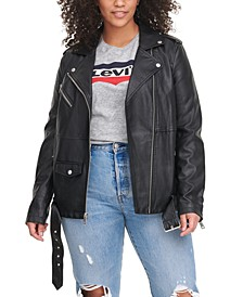 Trendy Plus Size Faux-Leather Oversized Moto Jacket