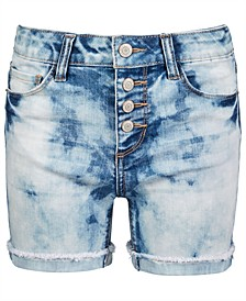 Big Girls Cloudy-Wash Denim Shorts