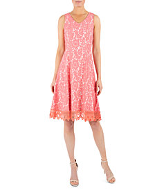 Donna Ricco Crochet-Trim Lace Dress