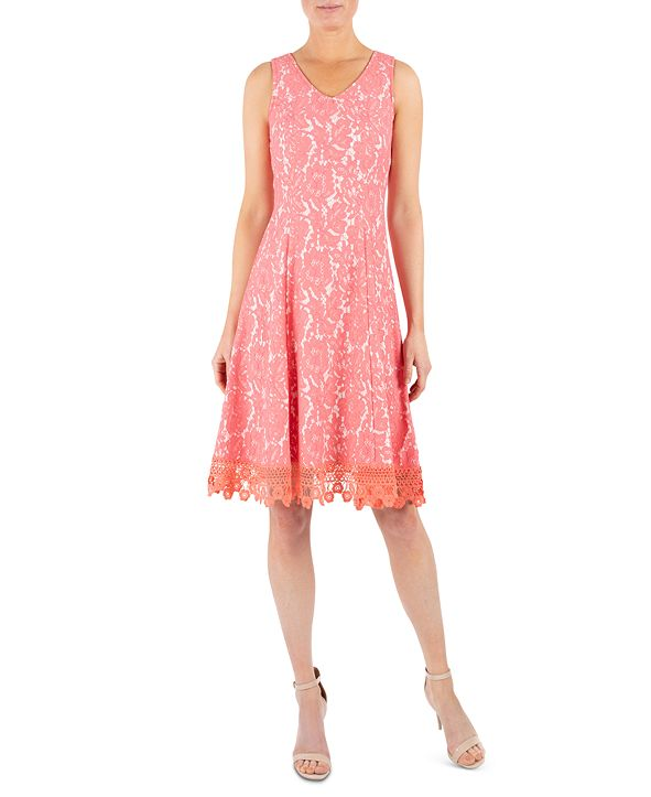 Donna Ricco Crochet-Trim Lace Dress