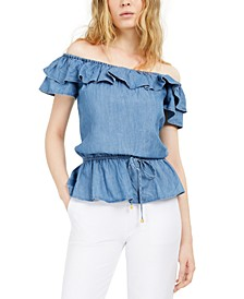 Flounce Off-The-Shoulder Peplum Top,