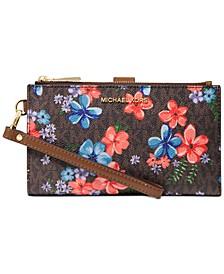 Jet Set Double Zip Signature Floral Wristlet