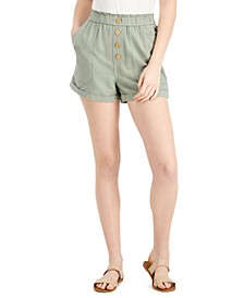 Juniors' Cuffed Paperbag Shorts