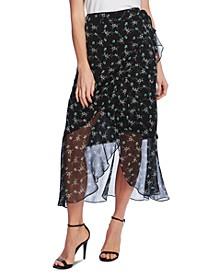 Floral-Print Faux-Wrap Skirt