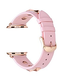 Men and Women Pink Studded Genuine Leather Replacement Band for Apple Watch, 42mm