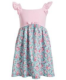Toddler Girls Sleeveless Seersucker Yoke to Printed Poplin Skirt Dress