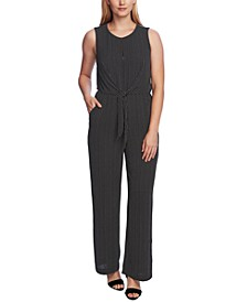 Printed Tie-Front Textured Jumpsuit